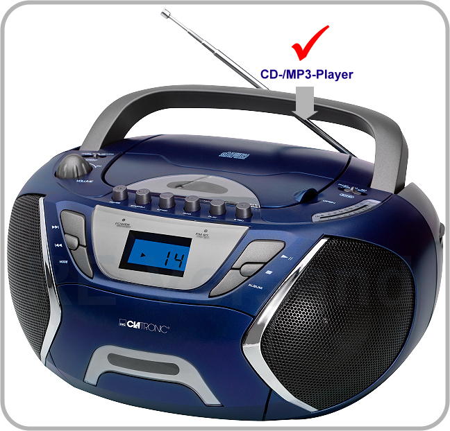 clatronic srr 828 blau stereo radiorecorder cd player mp3 kassette radio kinder ebay. Black Bedroom Furniture Sets. Home Design Ideas