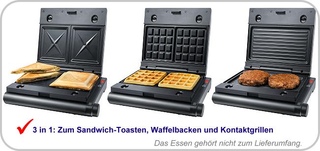 schwarz Sandwichmaker Steba Multi-Snack-Maker SG 55 3in1